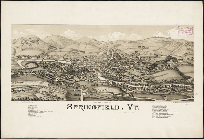 Map of Springfield, Vermont, published by L.R. Burleigh, ca. 1886, courtesy of the Norman B. Leventhal Map Center, Boston Public Library.