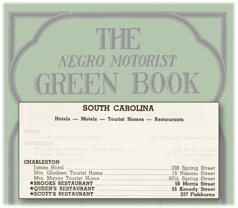 Charleston businesses listed in The Negro Travelers' Green Book, New York, Victor H. Green & Co., 1961, courtesy of the Schomburg Center for Research in Black Culture.
