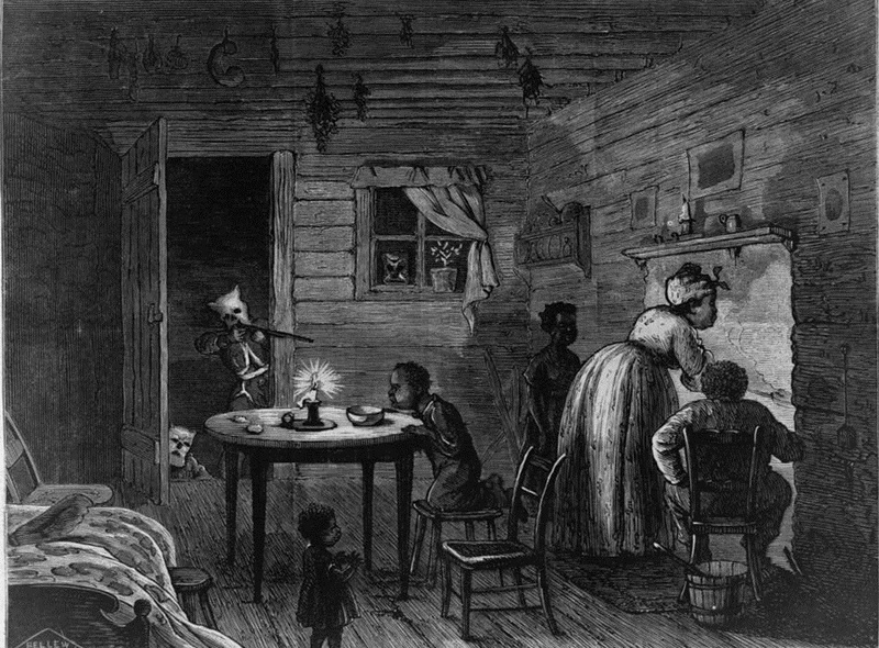 """""""Visit of the Ku-Klux,"""" 1872, wood engraving by Frank Bellew, <em>Harper's Weekly</em>, courtesy of Library of Congress."""