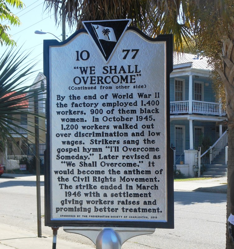 Historic marker for Cigar Factory Strike, image by Kerry Taylor, Charleston, South Carolina, October 2013.