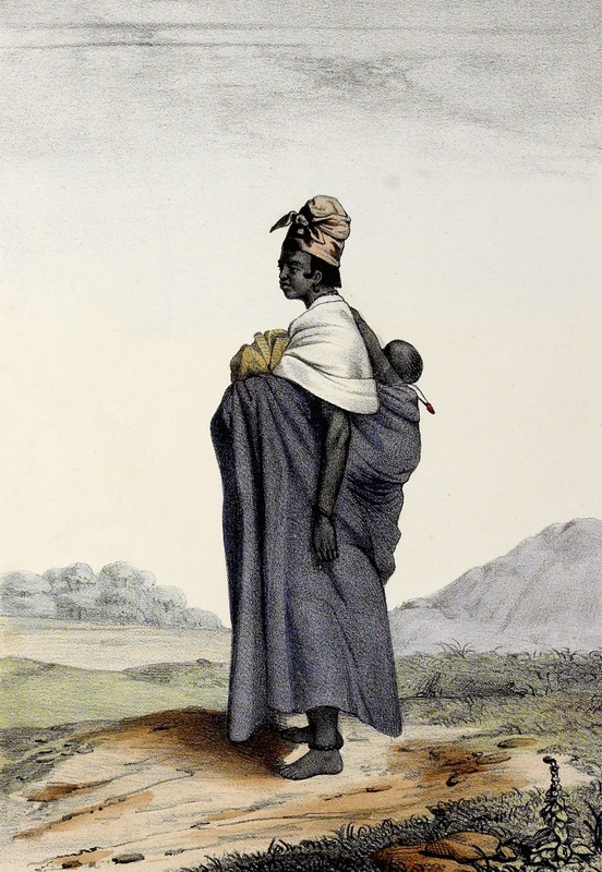 Wolof woman and her child wearing an amulet, drawing by David Boilat, 1853, Senegambia region, courtesy of Slavery Images.