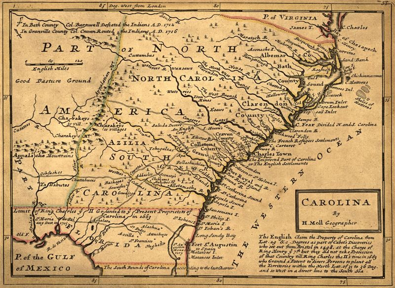 """Carolina,"" by Herman Moll, 1732, courtesy of the Library of Congress Geography and Map Division."