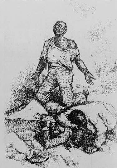 African American man kneeling by bodies of murdered African Americans, 1876, wood engraving by Thomas Nast,<em> Harper's Weekly</em>, courtesy of Library of Congress Prints and Photographs Division.