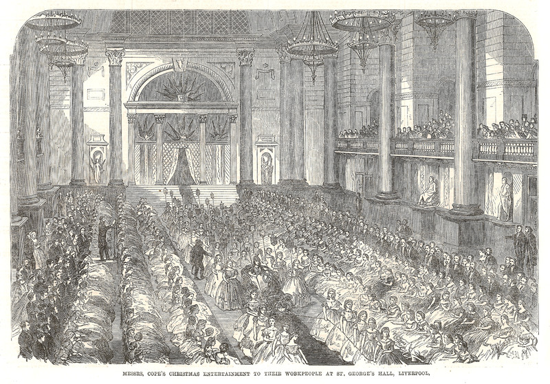 Interior of St. George's Hall, illustration by John Wallace, <em>Illustrated London News</em>, 1864.
