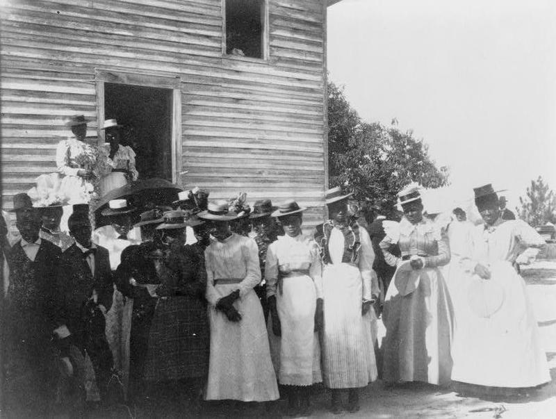 Photograph of a group of people outside of church, Georgia, 1900, courtesy of the Library of Congress.