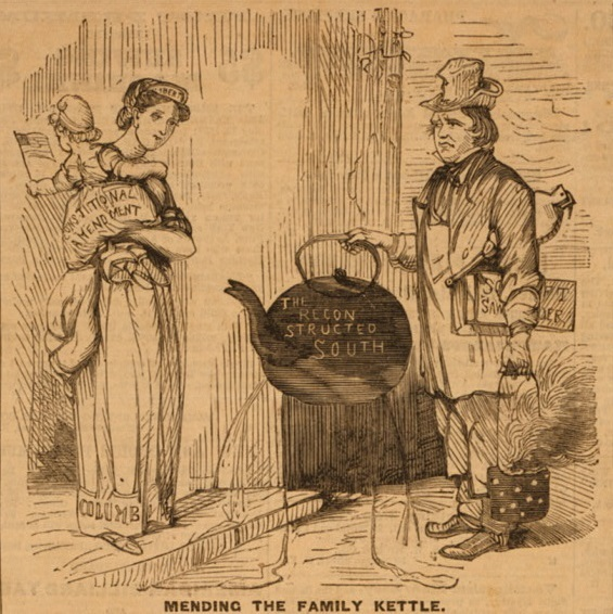 <span>Mending the family kettle</span>, 1866, <em>Frank Leslie's Illustrated Newspaper</em>, courtesy of Library of Congress Prints and Photographs Division.