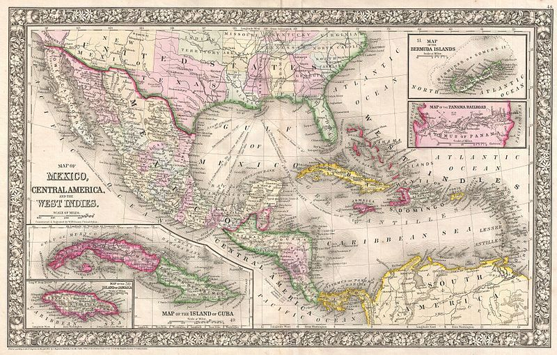 Map of Americas and the West Indies, created by Samuel Agustus Mitchell, 1866, courtesy of Geographicus Rare Antique Maps.