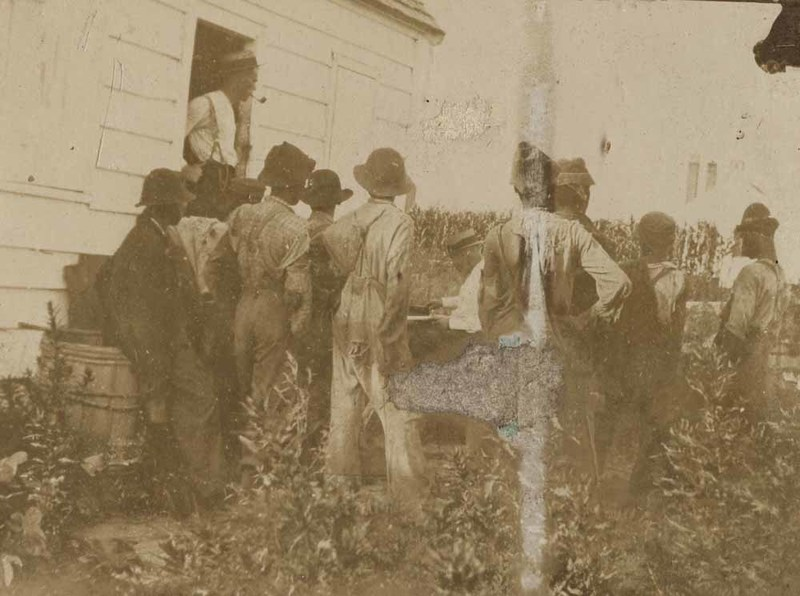 """Pay day at Halls Farm,"" Halls Island, Beaufort, South Carolina, ca. early 1900s, courtesy of the Beaufort District Collection, Beaufort County Library."