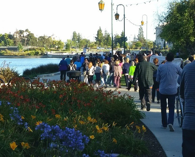 Marchers along Lake Merritt for the White Silence is Violence march, Instagram photograph by Pamela Drake, June 21, 2015, Oakland, California.
