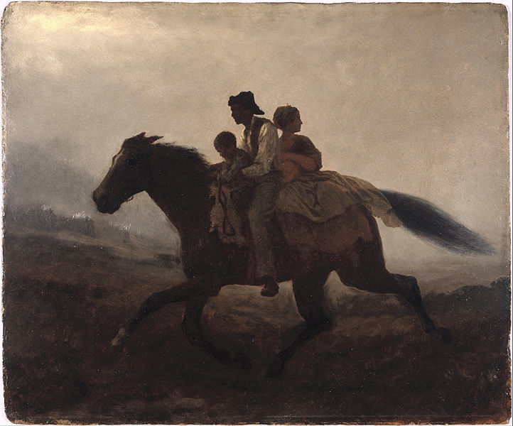 """Painting titled """"Ride for Liberty - The Fugitive Slaves,"""" Eastman Johnson, circa 1862, courtesy of Wikimedia Commons."""