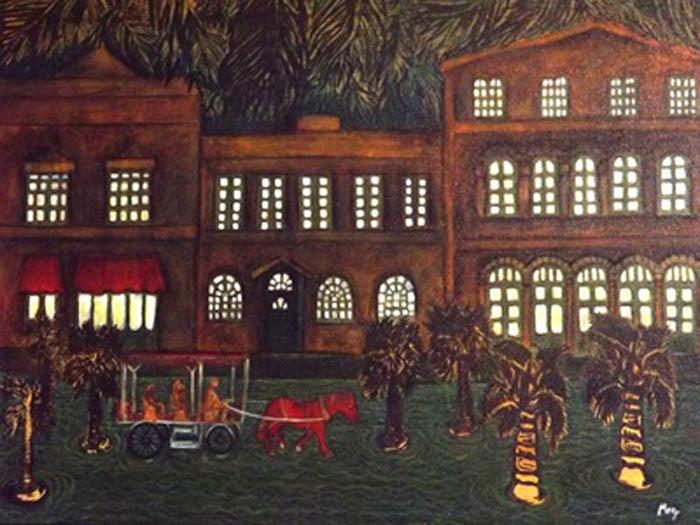 <em>Un presente que evoca un pasado en otra latitud</em><span>, pintura de Maribel Acosta, Charleston, Carolina del Sur, 2013.Acosta es una artista, educadora, directora teatral y miembro activo de la comunidad. Su arte encapsula temas relacionados con la comunidad, la migración y el Lowcountry.</span>