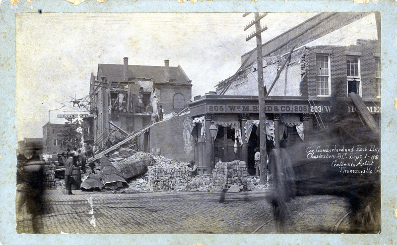 Corner of Cumberland and East Bay, Charleston, South Carolina, 1886, courtesy of the Waring Historical Library, Medical University of South Carolina, Charleston Earthquake Photographs.