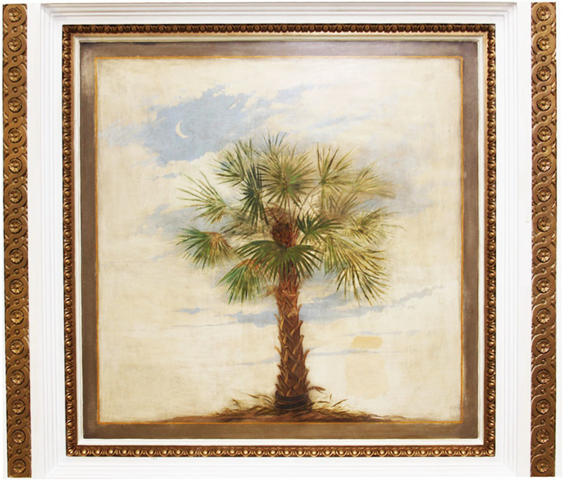 Painting of Palmetto tree on the ceiling of the entrance to 19 Abercromby Square, photograph by Chris Williams, Liverpool, England, 2015.