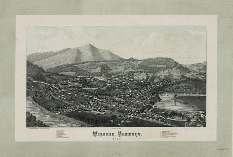 Map of Windsor, Vermont, January 3. 1887, courtesy of Library of Congress.