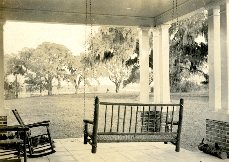Porch of newly built twentieth-century Dixie Plantation house, photograph by Morton Brailsford Paine, Hollywood, South Carolina, 1919, courtesy of the Charleston Museum Archives.