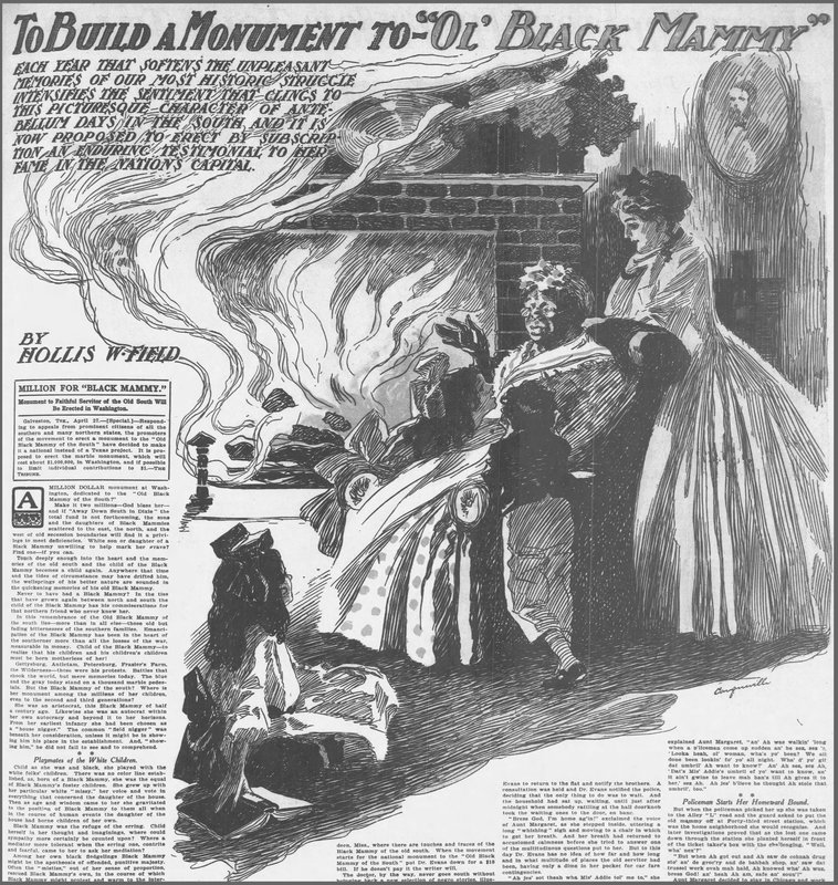"Newspaper clipping reporting a move ""to build a monument to 'Ol' Black Mammy,'"" Chicago Tribune, Carqueville, 1910."