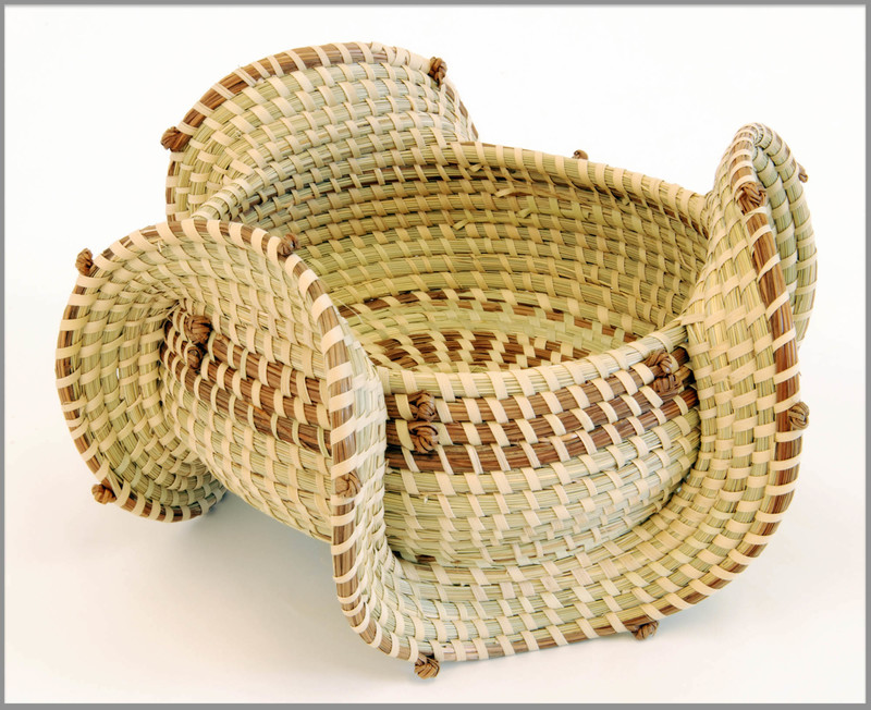 Sweetgrass basket with elephant ear design, 2006, courtesy of The Avery Research Center for African American History and Culture.
