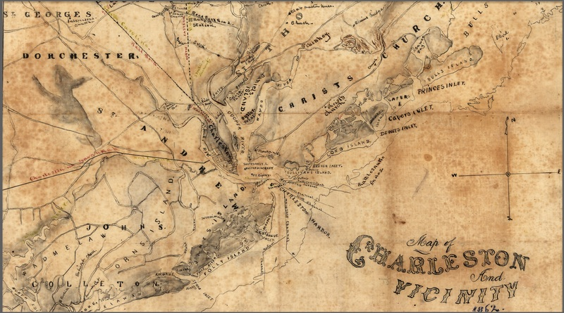 "Portion of ""Charleston and Vicinity"" map, Joseph Rosswell Hawley, South Carolina, 1862, courtesy of Library of Congress."