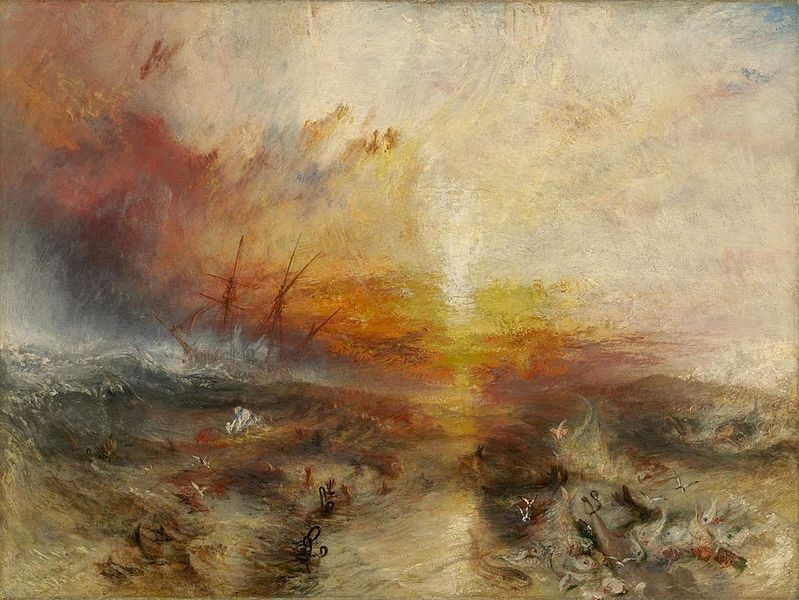 "J.M.W. Turner's ""The Slave Ship,"" depicts slavers throwing overboard the dead and dying. Oil on Canvas. 1840. Original located at the Museum of Fine Arts, Boston."