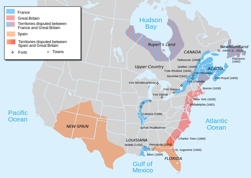 A map depicting European occupation of North America in 1702, made in 2010. Areas that are a solid color represent approximate areas of occupation, rather than officially claimed lands, which were generally much larger. Areas with conflicting claims are depicted with color gradation, and may or may not be occupied by either side. Many of these land claims also intersect lands claimed by American Indians, which are not shown.