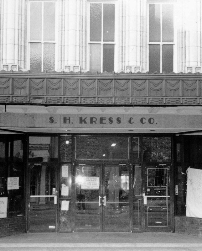 S. H. Kress store on King Street, site of student sit-in, Charleston, South Carolina, ca. 1960, courtesy of the Avery Research Center. Eugene Hunt, Avery graduate and Burke High School teacher, encouraged students to protest S. H. Kress's segregation policies as part of the Charleston Movement.