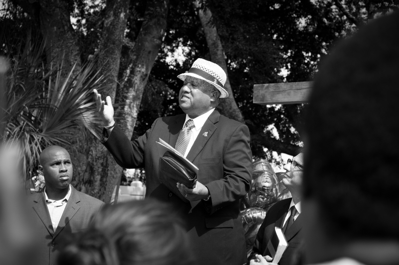 A preacher outside of Emanuel AME Church, photograph by Delane Chavez, June 20, 2015, Charleston, South Carolina.