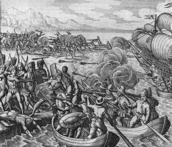 "Amerigo Vespucci leads an attack on Amerindians on the island of ""Ity"" (location uncertain, possibly Bermuda), on his first journey to the New World in 1497, engraving by Theodor de Bry, ca. 1592."