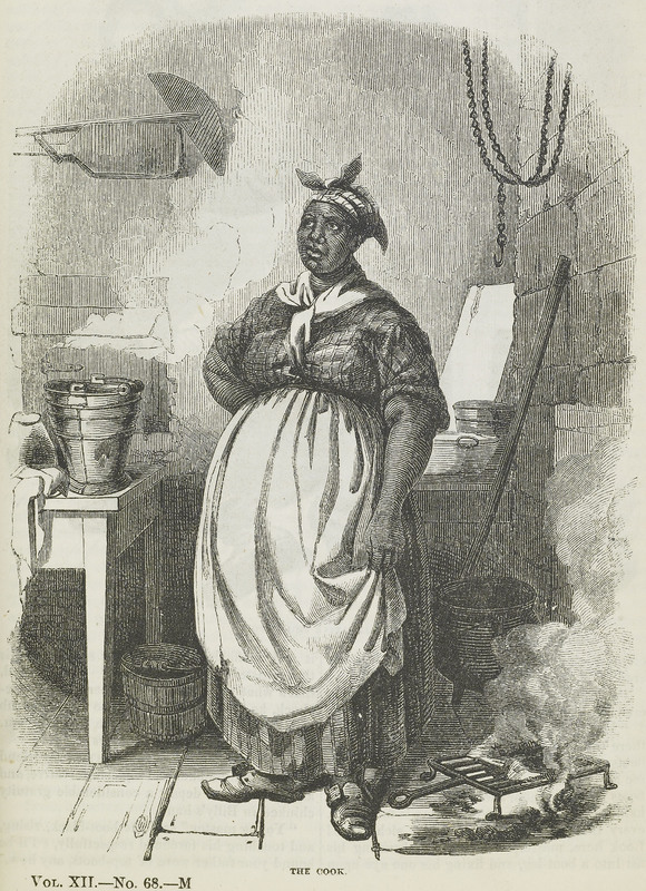 Illustration of an enslaved cook, David Hunter Strother, Virginia, 1856, courtesy of the Library of Congress.