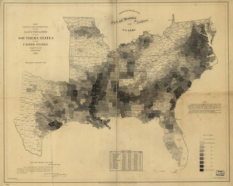 Map depicting percentages of slaves in populations of each county in slave-holding states, E. Hergesheimer, 1861, courtesy of the Library of Congress.