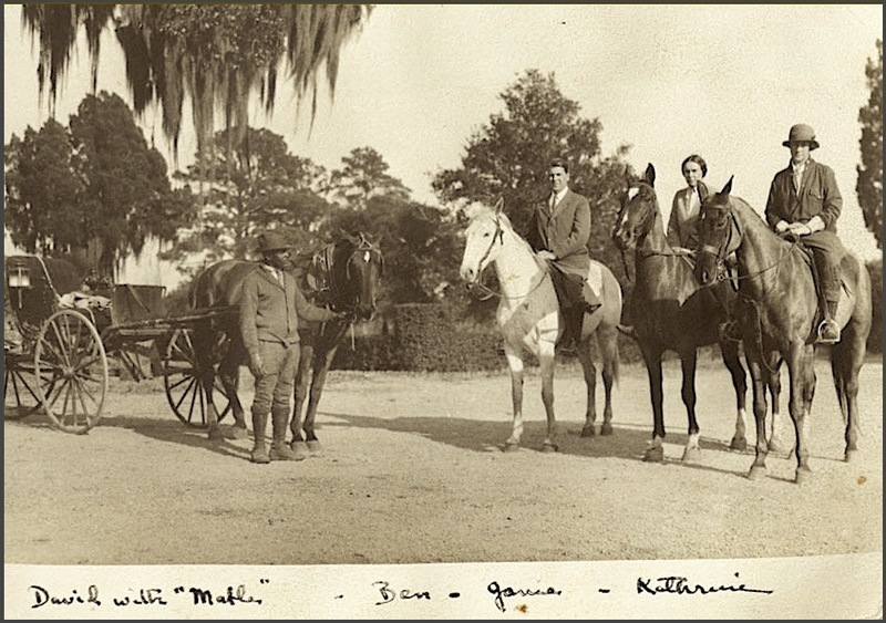 Horseback riding group at Medway Plantation, circa 1930s, courtesy of the College of Charleston's Special Collections.