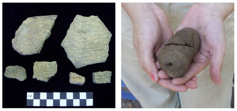 (Right) Woodland-period ceramics from Stono Preserve, photograph by Kimberly Pyszka, 2010. (Left) Baked clay object, photograph by Kimberly Pyszka, Stono Preserve, 2009.