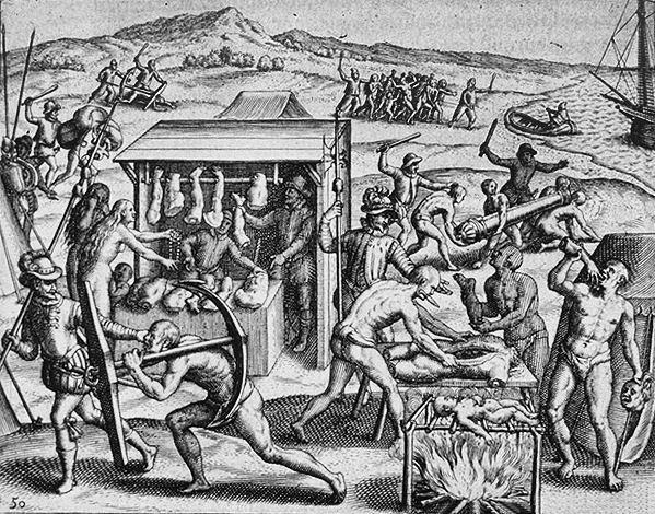 Depiction of Spanish atrocities in the New World, as recounted by Bartolomé de las Casas in <em>Narratio Regionum indicarum per Hispanos Quosdam devastatarum verissima</em>, engraving by Theodor De Bry, 1598.