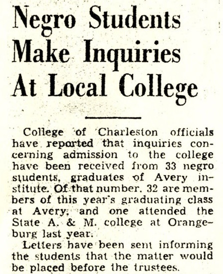 """Negro Students Make Inquires at Local College,""<em> Charleston Evening Post</em>, June 12, 1944, Charleston, South Carolina, courtesy of the Avery Research Center."