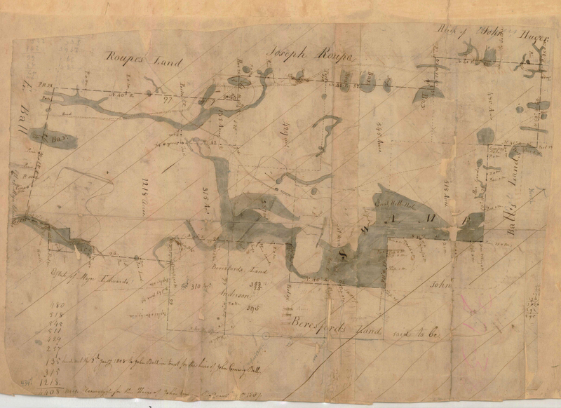 """<p>""""John Ball, Plan of a Tract of Land Containing 4,408 acres,"""" plat of Jericho Plantation, Bethera, South Carolina, January 2, 1808, courtesy of the John McCrady Plat Collection, Charleston County Register of Mesne Conveyance.</p>"""