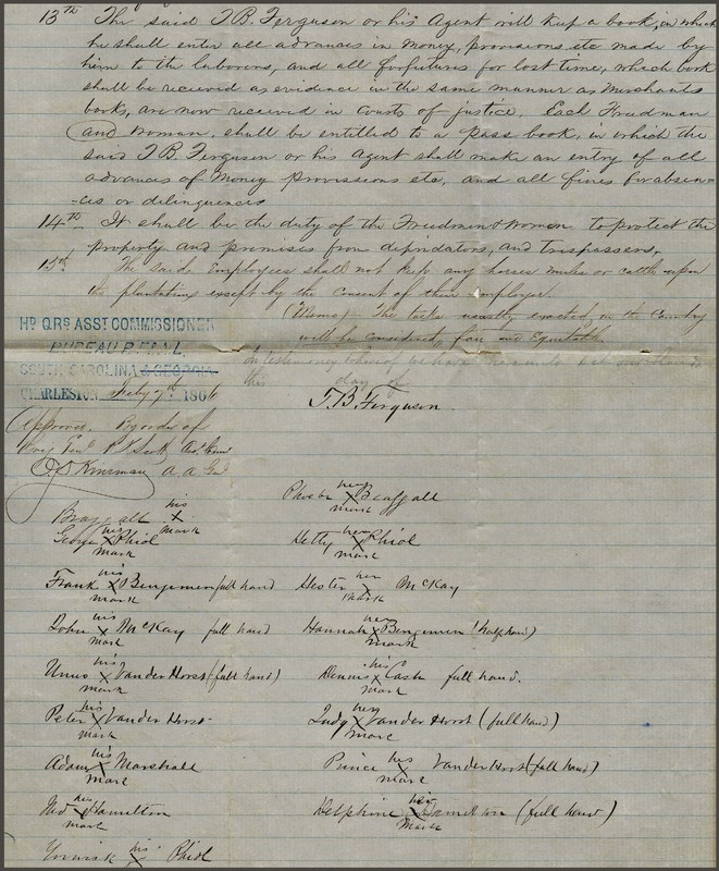 Labor contract between Thomas B. Ferguson and the freed men and women at Dean Hall Plantation, Thomas B. Ferguson, Moncks Corner, South Carolina, 1866, courtesy of College of Charleston Libraries.