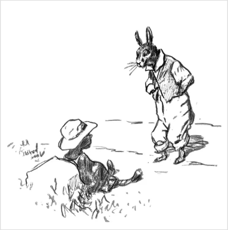 Br'er Rabbit sketch, sketch by Joel Chandler Harris, 1904, courtesy of Wikimedia Commons.