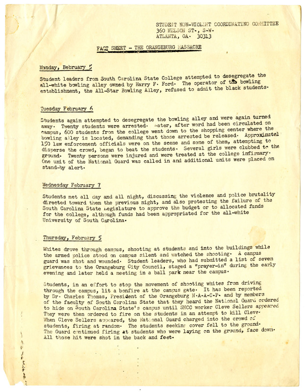 Fact sheet created by the Student Nonviolent Coordinating Committee (SNCC) to circulate information about the protests and shooting that occurred February 1968 in Orangeburg, South Carolina, Cleveland L. Sellers Papers, courtesy of the Avery Research Center.