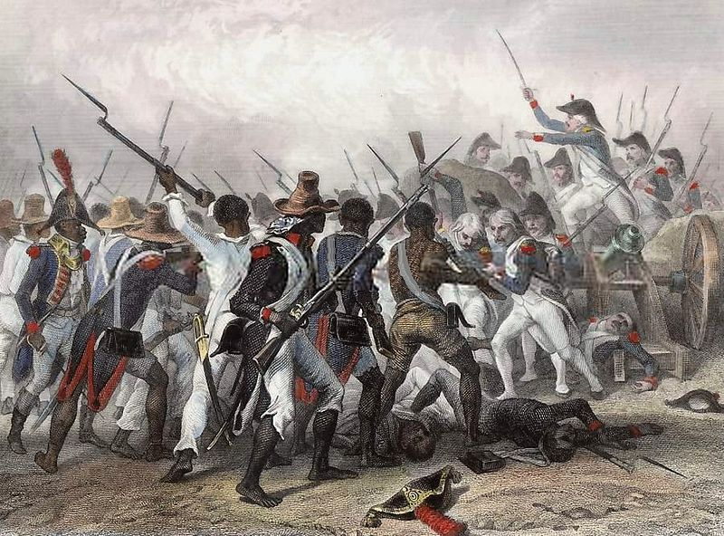 Scene of the Battle of Vertières during the Haitian Revolution, engraved in 1845.
