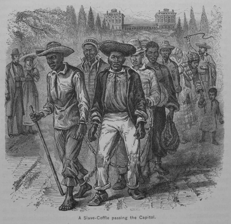 Enslaved people coffled on a forced march, illustration from A Popular History of the United States, circa 1876, courtesy of the Library of Congress.