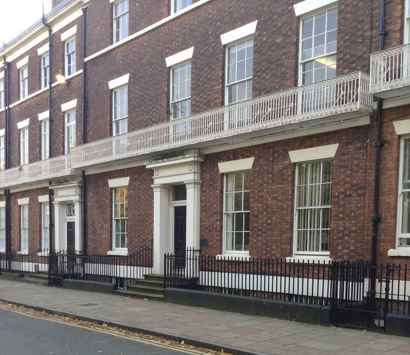 11 Abercromby Square, photograph by Chris Williams, Liverpool, England, 2015. Robert Gladstone resided at 11 Abercromby during the 1850s. Afterward, Thomas Hunter Holderness resided at this site from 1859-1876.