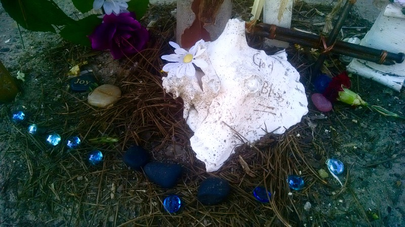 Items left by visitors at the Emanuel AME Church, photograph by Toni Carrier, June 29, 2015, Charleston, South Carolina.