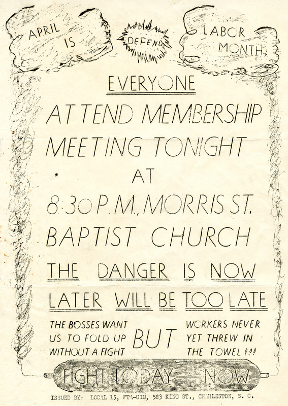 Flyer for Cigar Factory workers' union meeting at Morris Street Baptist Church, ca. 1945, Charleston, South Carolina, courtesy of South Carolina Historical Society.