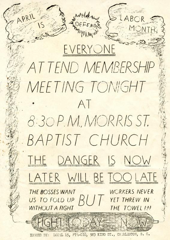 Flyer for Cigar Factory workers' union meeting at Morris Street Baptist Church, ca. 1945, Charleston, South Carolina, courtesy of South Carolina Historical Society.