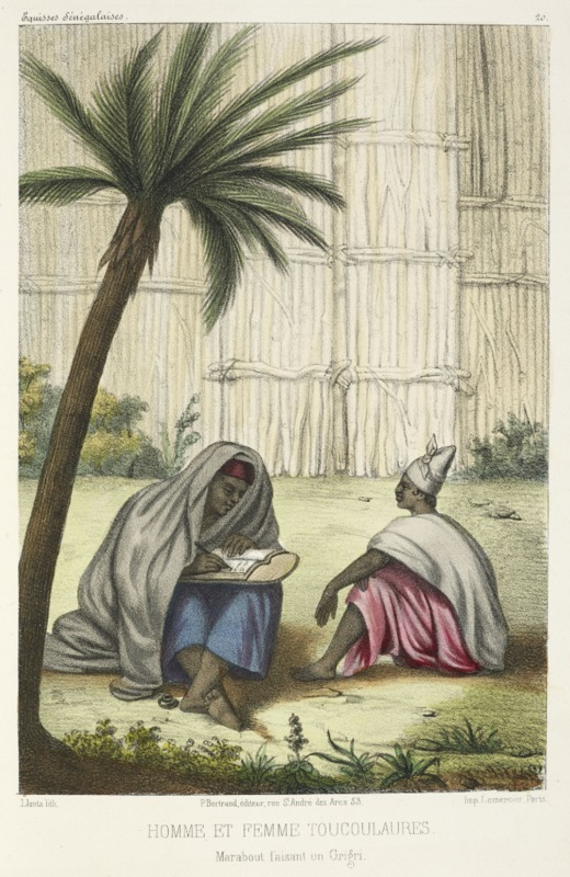 A marabout, or Muslim religious leader, writing an amulet for a Tukalor widow, P.D. Boilat, 1853, courtesy of the British Library.