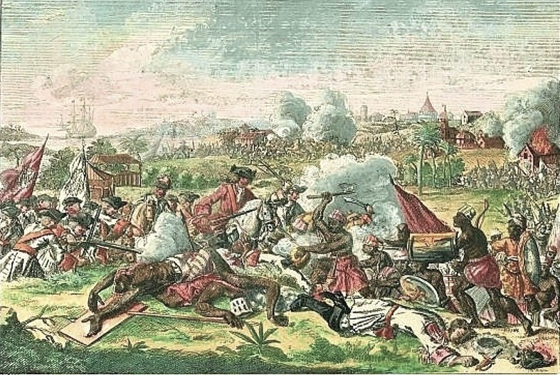 A color-tinted engraving of a Yamasee War battle, engraving by Peter Schnek, 1720.