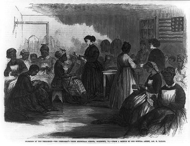 """Glimpses at the Freedmen - The Freedmen's Union Industrial School,"" Richmond, Virginia, sketch by Jas E. Taylor, 22 September 1866, <em>Frank Leslie's Illustrated Newspaper</em>. Image depicts white northern teachers instructing former slaves."