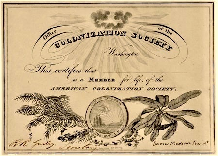American Colonization Society Membership Certificate, American Colonization Society, 1833, Courtesy of The Gilder Lehrman Institute of American History.