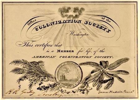 American Colonization Society Membership Certificate, American Colonization Society, 1833, Courtesy of The Gilder Lehrman Institute of American History.