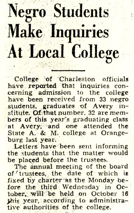 """Negro Students Make Inquiries At Local College,""<em> Charleston Evening Post</em>, June 12, 1944, Charleston, South Carolina, courtesy of the Avery Research Center."