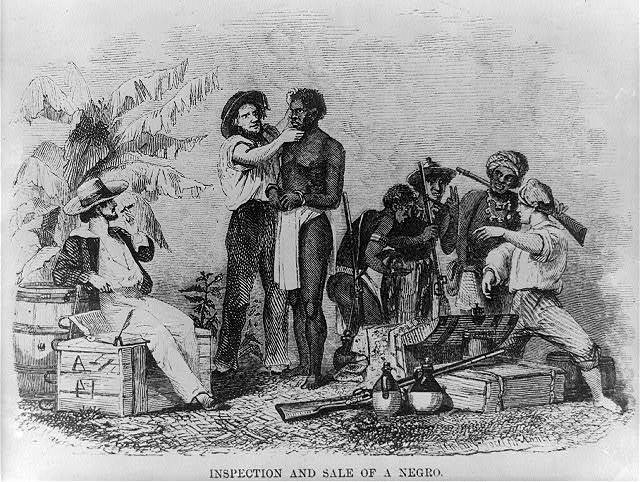 """Inspection and Sale of a Negro,"" wood engraving by Brantz Mayer, 1854, courtesy of the Library of Congress."